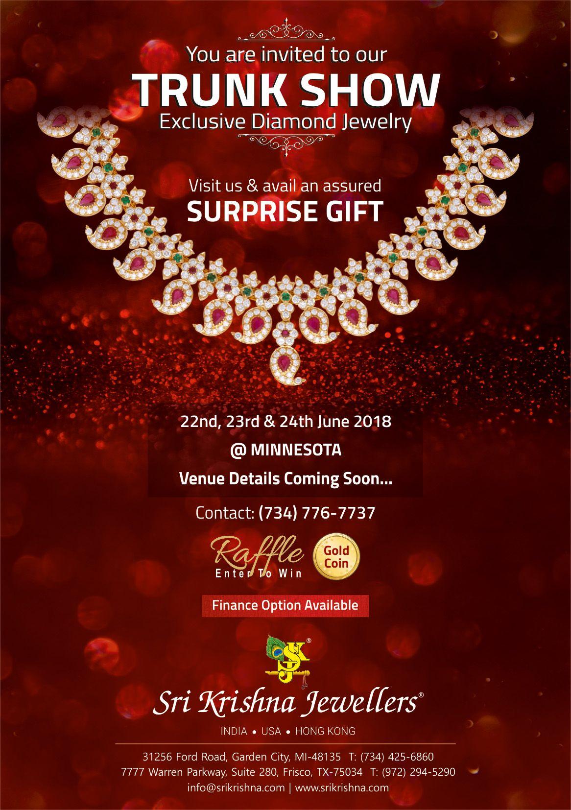 Sri Krishna Jewellers - Trunk Show in Minnesota: Exclusive Diamond Jewelry